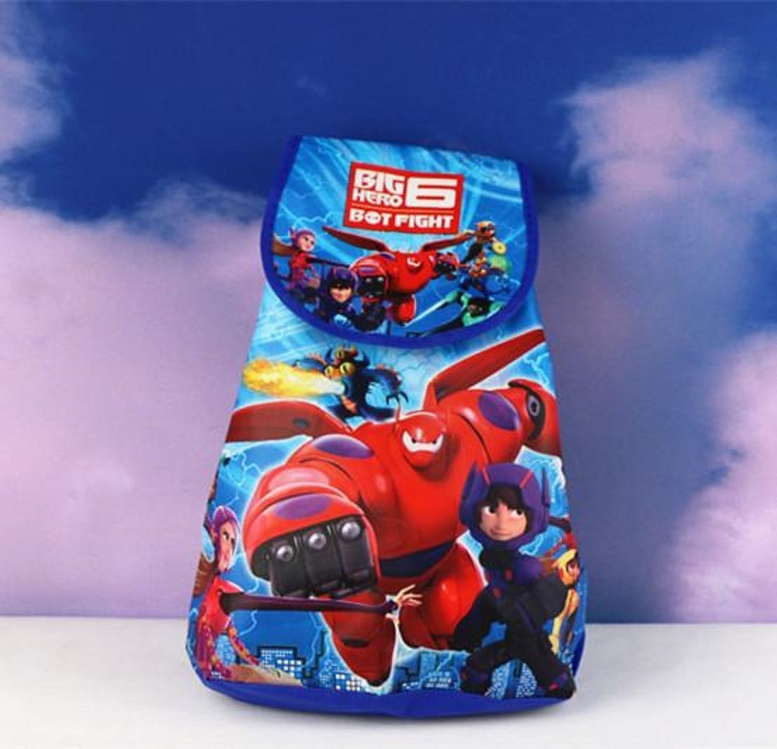Big Hero 6 Drawstring Child Cartoon Backpack - Random color and design