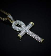 Iced Out Hip Hop Egyptian Ankh Key Of Life Gold Cross Necklace - $22.99