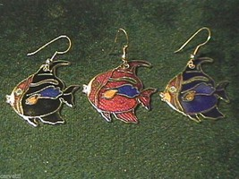 Vintage 1980's Cloisonne Angel Fish Goldtone Earrings (1 pair) Black & Blue Only - $3.60