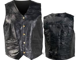 Mens 6X Genunie Leather Motorcycle Biker Vest Italian Design Leather Jac... - $19.90