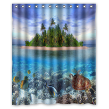 Tropical Beach #04 Shower Curtain Waterproof Made From Polyester - $31.26+