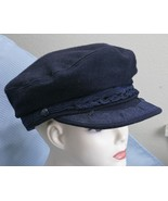 Greek Fishermans Cap Navy Wool Blend Braided Trim Anchor Accents Hat   - $20.82