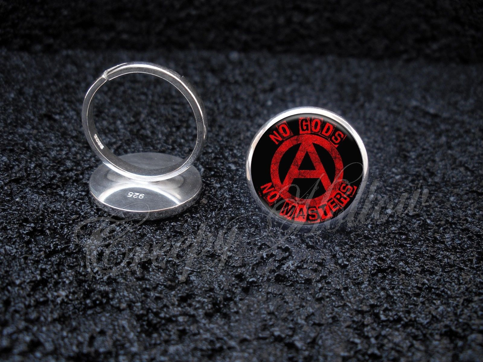 Primary image for 925 Sterling Silver Adjustable Ring No Gods No Masters slogan Anarchist Anarchy