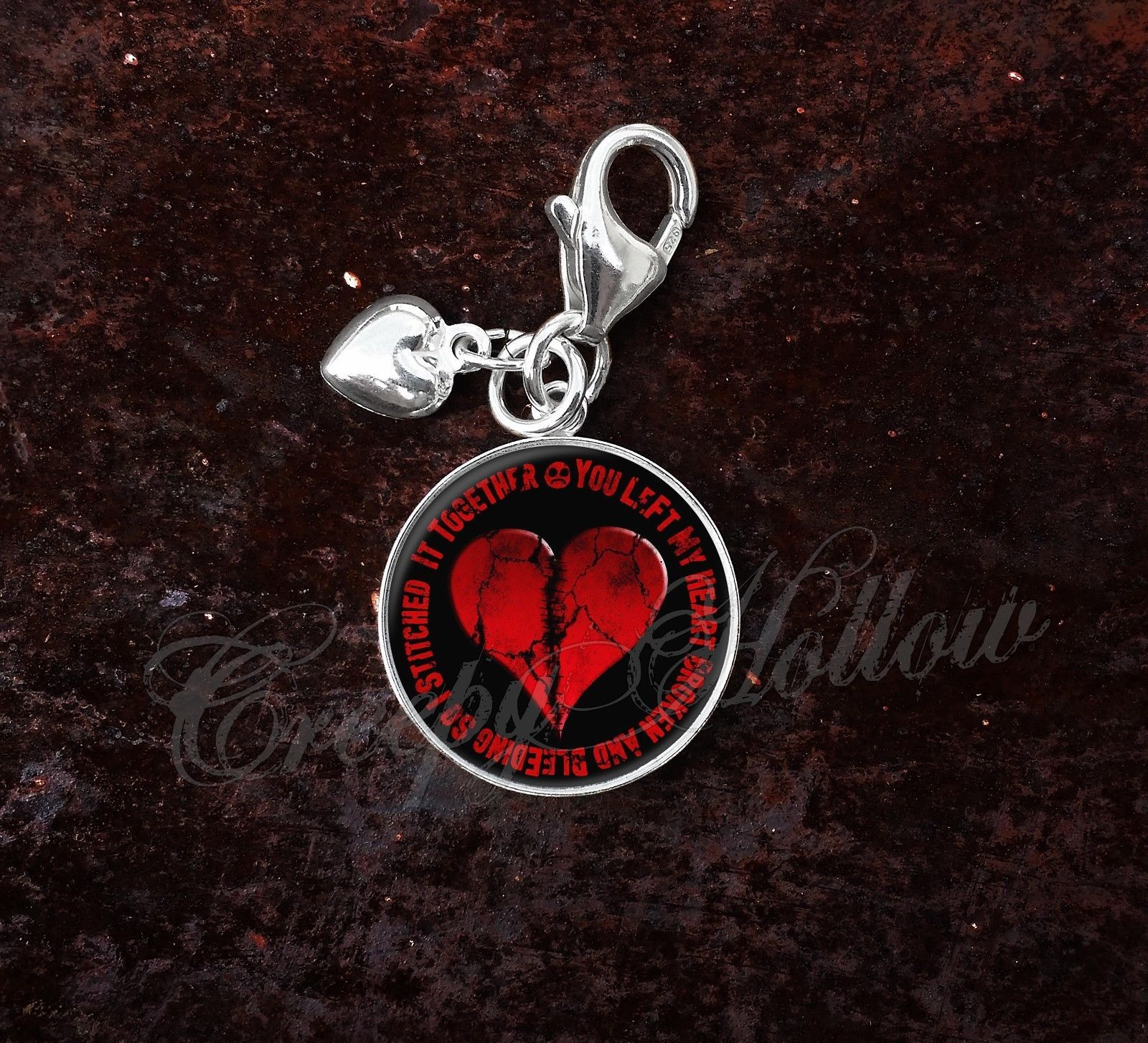 Primary image for 925 Sterling Silver Charm Broken Heart Stitched Together Emo Love