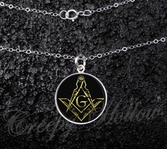 Sterling Silver Small Pendant Necklace Masonic Freemason Symbol - £23.18 GBP