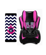 PERSONALIZED BABY TODDLER CAR SEAT STRAP COVERS NAVY CHEVRON HOT PINK AN... - $13.21