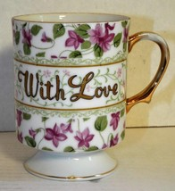 """Vintage """"WITH LOVE"""" Tea Cup Violets Gold Pedastal base Unmarked Coffee Cup - $14.01"""