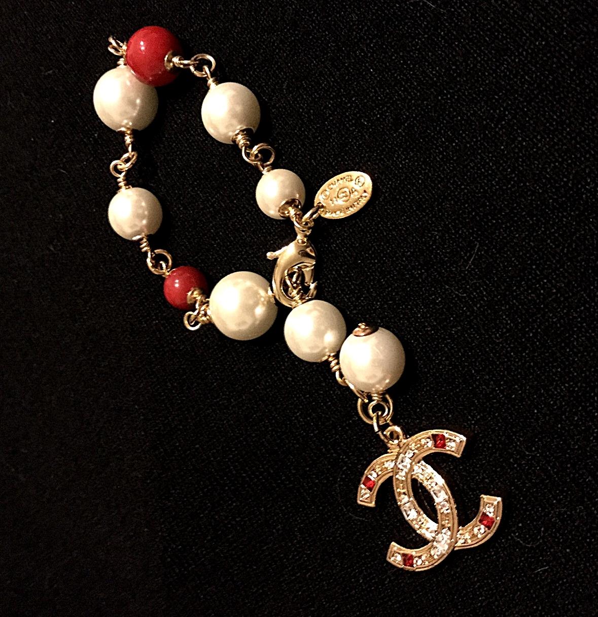 Hallmark Charms For Bracelets: CHANEL Pearl Bracelet Red Crystal CC Logo Costume Jewelry