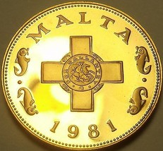 Rare Cameo Proof Malta 1981 Cent~The George Cross~Only 1,453 Minted~Free Ship - $15.83