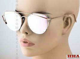Large Oversized Cat Eye Sunglasses SEMI-RIMLESS Flat Mirror Lens Women F... - $8.86+