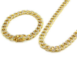 """14k Gold Finish Iced Out Simulated Cz Mens Miami Cuban Chain & Bracelet 30"""" - $186.12"""