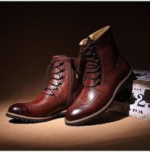 Handmade men lace-up ankle high leather boot, Men leather boots, Men brown boot - $189.99