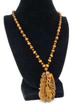 "TIGERS EYE Asian Carved Vintage PENDANT and 24"" NECKLACE with 14K filled... - $125.00"