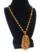 """TIGERS EYE Asian Carved Vintage PENDANT and 24"""" NECKLACE with 14K filled... - $125.00"""