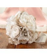 Burlap Flower Bouquet Wedding Rustic Country Charm Bride Reception Brida... - $37.60