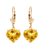 14K Solid Gold Leverback Earrings Natural Heart Citrines Yellow Gemstone - $360.00