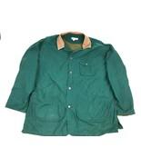 Vtg BANANA REPUBLIC Hunter Green L Barn Chore Jacket Coat Lined Leather ... - $42.57