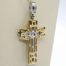 Anhänger Überqueren Gelbgold Weiß 750 18K, mit Christus, Glänzend und Satin image 4