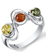 Sterling Silver Three Stone Amber Ring - $54.99