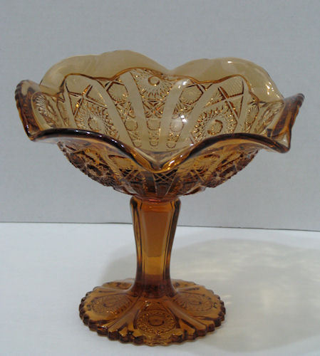 Imperial Glass Hobstar Amber 7.5 inch Compote