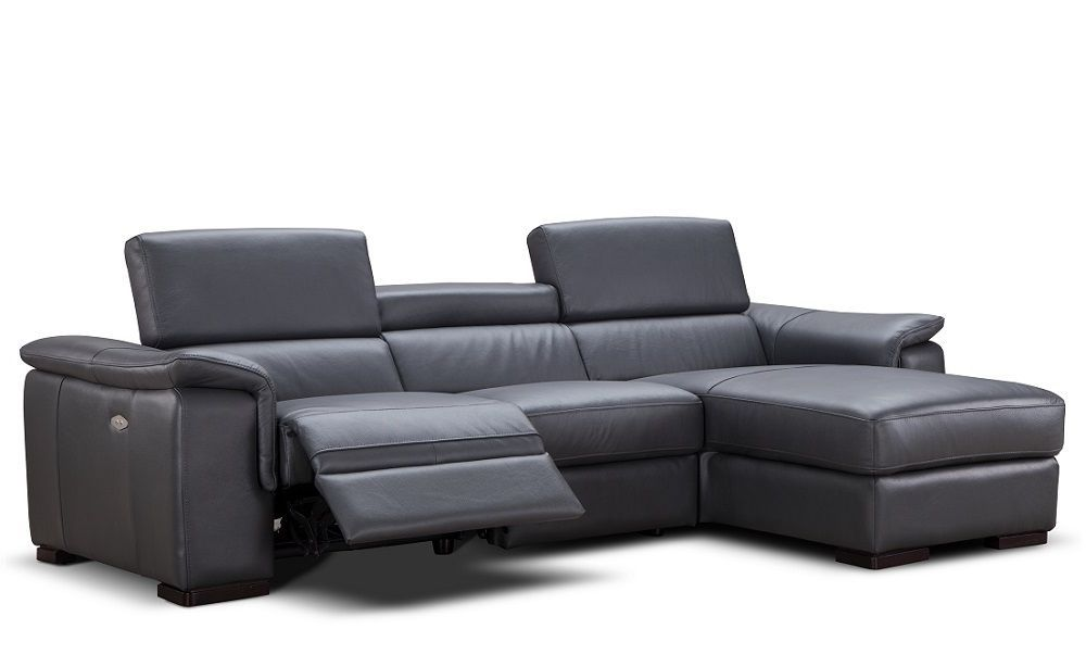 J&M Allerga Premium Italian Leather Sectional Contemporary Right Hand Facing
