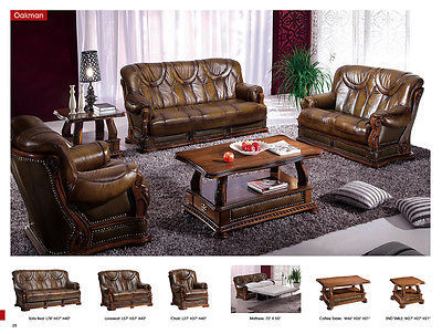Chic Oakman Traditional Full Italian Leather Sofa Set Contemporary Sleeper Bed