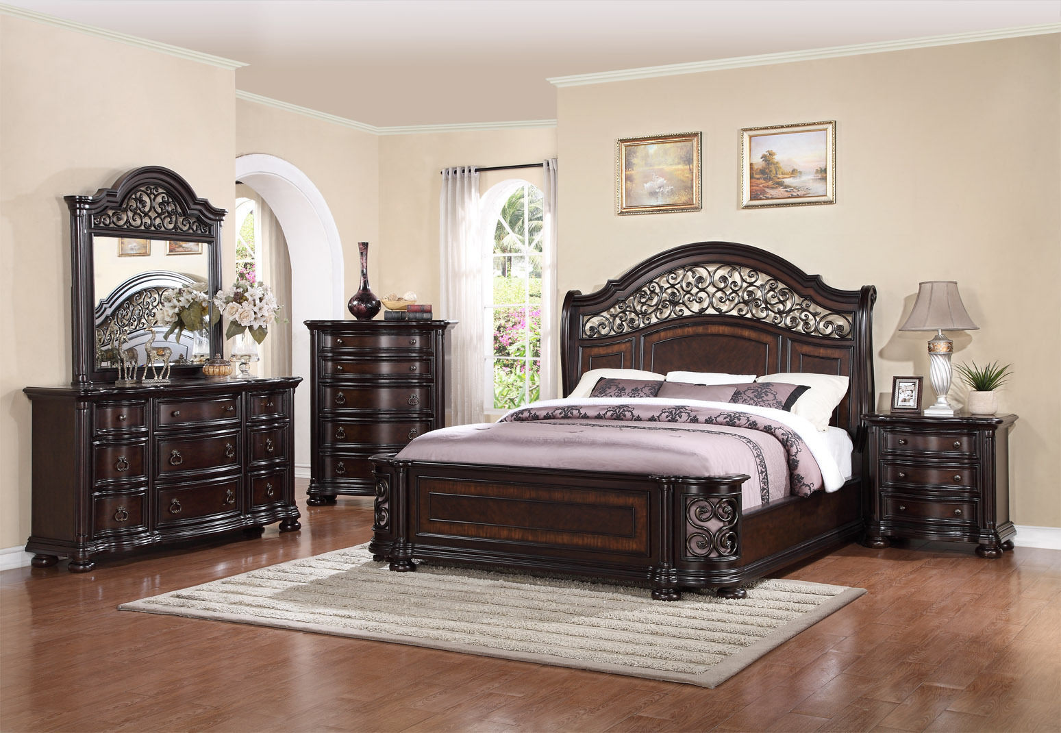 Mcferran RB366 Allison California King Size Bedroom set 3.pc Traditional Style