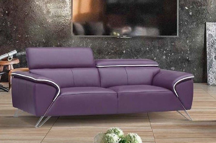 ESF 1513 Italian Half Leather Living Room Sofa Craftsmanship Purple Modern Style