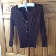 Womans Brown Knit Button Front Top Size Large 55% Silk by Cable & Gauge  - $29.99