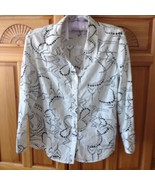 Womens Black & White Blouse Size 10 100% Cotton by JM Collection  - $24.99