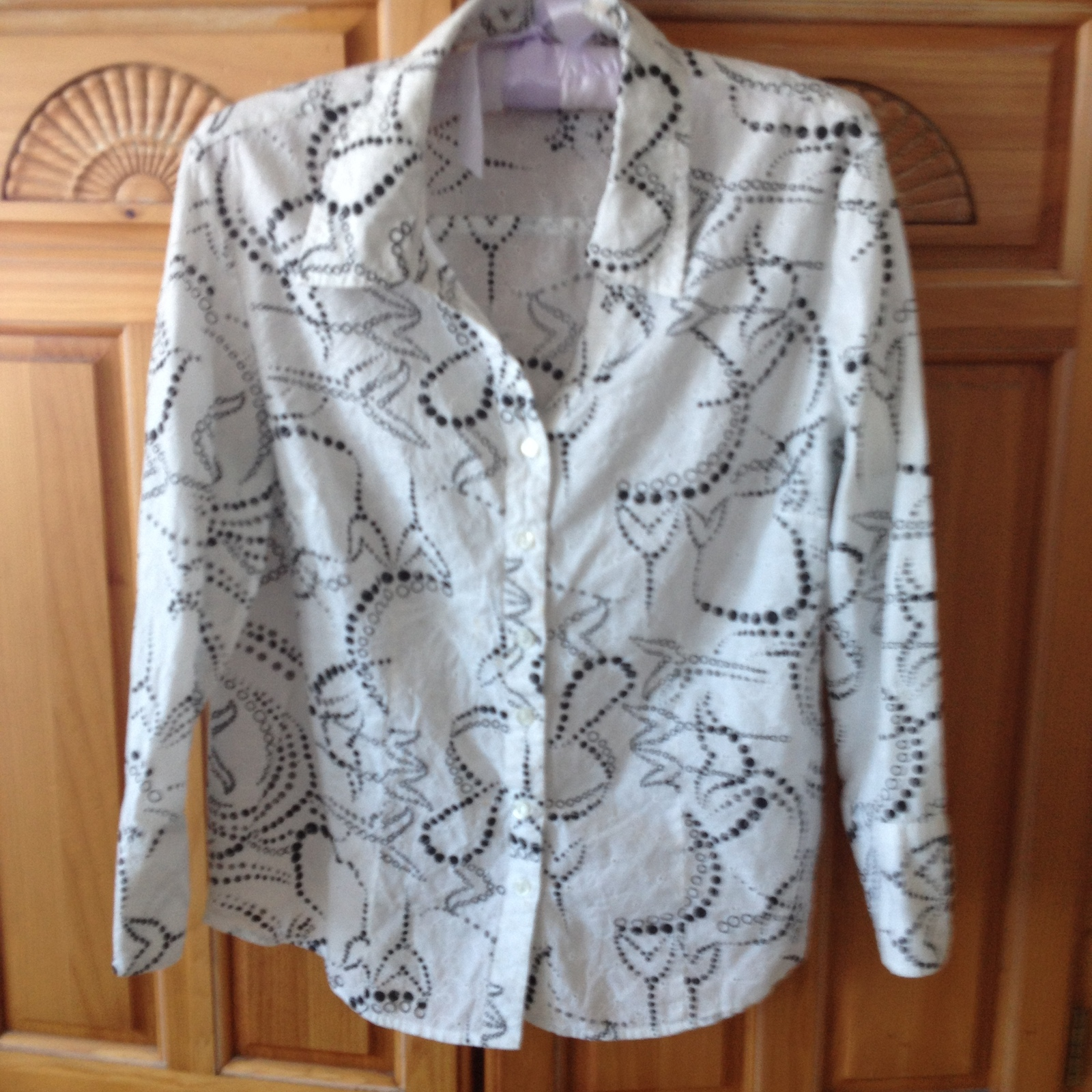 Womens Black & White Blouse Size 10 100% Cotton by JM Collection