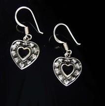 Sterling heart earrings Earrings Silver Dangle Heart Drops black enamel Pierced  - $65.00