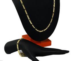 Mens 14k Gold Plated 5mm Italian Figaro Link Chain & Bracelet Set 30 & 8... - £14.18 GBP