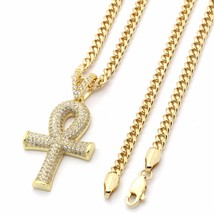 """14K Gold Plated Fully Iced Out Beveled Ankh Pendant w/ 3mm 30"""" Cuban Cha... - $42.56"""