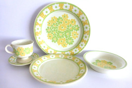 Franciscan Picnic Dinner Place Setting Plates Cereal Bowl Cup Saucer - $23.75