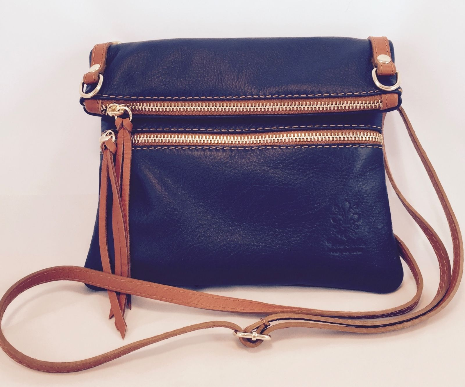 New Made in Italy Navy and Light Brown Italian Leather Crossbody Shoulder Bag