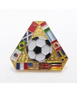 Vintage multi countries soccer ball pin with international flags sport - $9.89