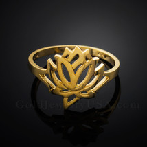 Dainty Solid Gold Lotus Ring (yellow, white, rose-gold) - £60.83 GBP+