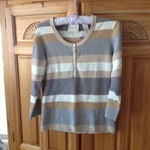 Womens Tan Striped Knit Top Size Large First Issue A Liz Claiborne Company - $39.99