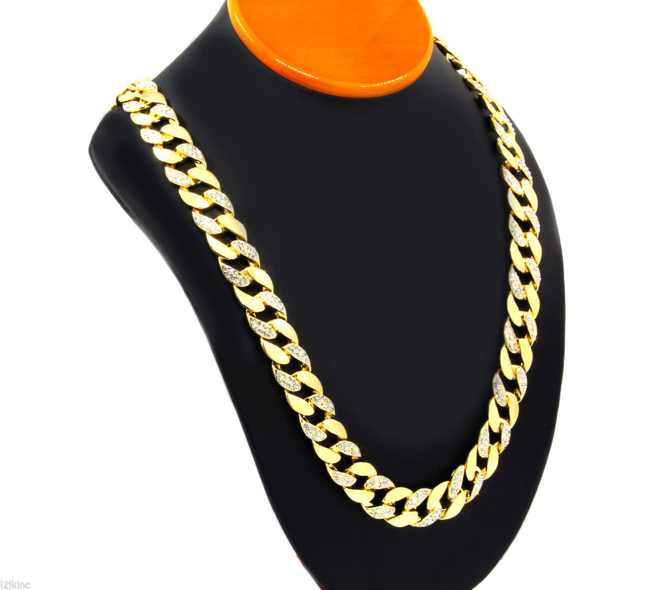 14k Gold Finish Iced Out Hip Hop CZ Chain Mens Miami Cuban Chain necklace