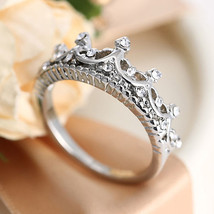 USA New Queen Princess Women Silver Plated Rhinestone Crown Ring Size 6-8 - $190,66 MXN