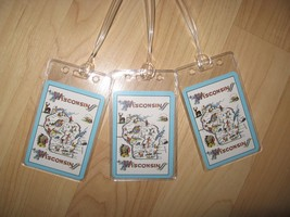 Wisconsin Luggage Tags - Vintage Retro USA State Map Postcard Name Tag S... - $19.78