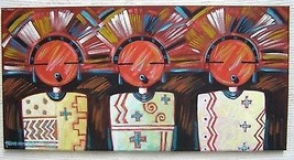 "Original 20 x 10"" Three Masked Maidens Painting by Hopi Richard Gorman  - $585.00"