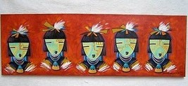 "Original 36 x 12"" Five Masked Maidens Painting by Hopi Richard Gorman  - $1,125.00"