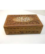 Carved Wood Box w/MOP Stone Inlay Jewelry Box - $17.99