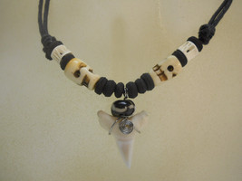 Shark Tooth Beaded Necklace w/Sculls Carvings - $12.99