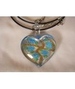 Heart Glass Necklace Murano Lampwork - $15.99