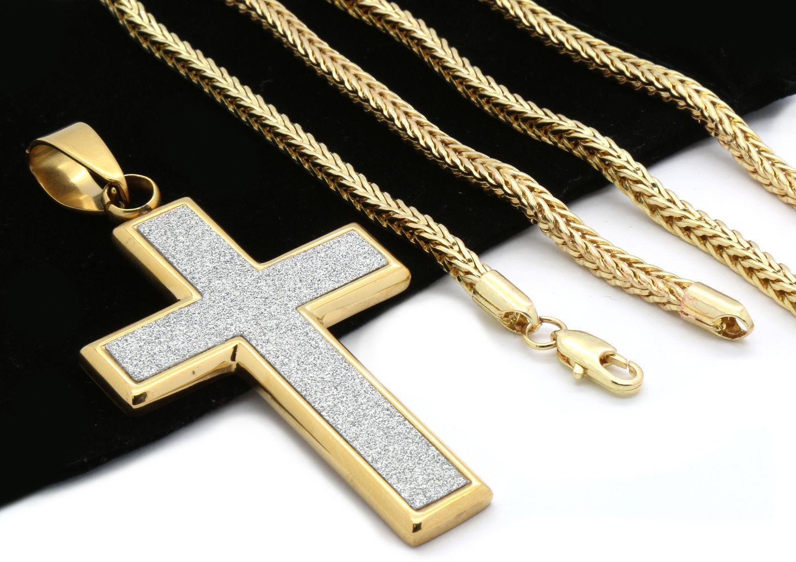 mens 14k gold plated silver stardust flat cross pendant. Black Bedroom Furniture Sets. Home Design Ideas