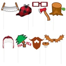 Lumberjack Photo Props Set; Woods Theme Birthday or Baby Shower; Buffalo Check - $9.85