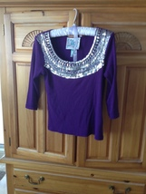Womens Dramatic Purple Beaded Top Size MP by Faith - $36.99